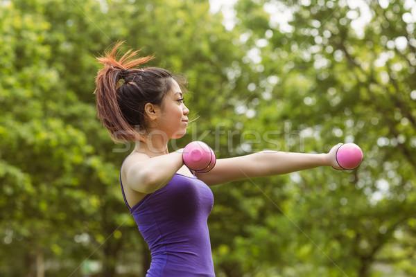 Healthy woman lifting dumbbells in park Stock photo © wavebreak_media