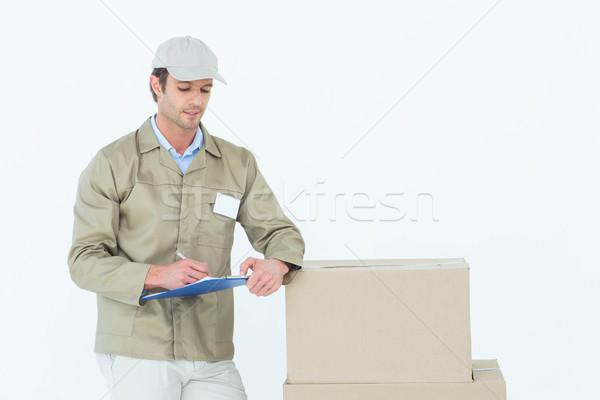 Futár ír vágólap karton dobozok fehér Stock fotó © wavebreak_media