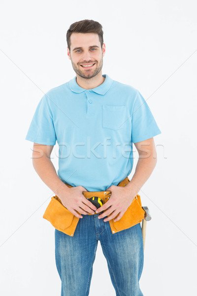 Portré boldog ács visel szerszám öv Stock fotó © wavebreak_media