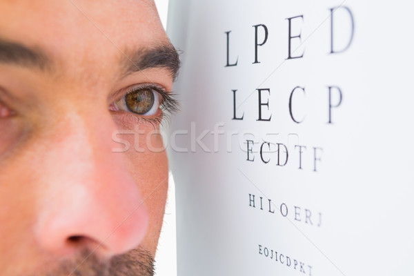 男 視力検査 文字 白 読む ストックフォト © wavebreak_media