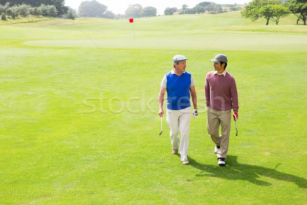 Golfista amigos caminando campo de golf Foto stock © wavebreak_media