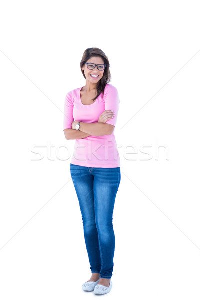 Pretty brunette wearing glasses with arms crossed Stock photo © wavebreak_media