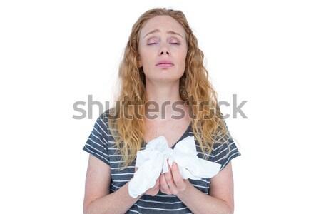 Malade femme blonde papier blanche Photo stock © wavebreak_media