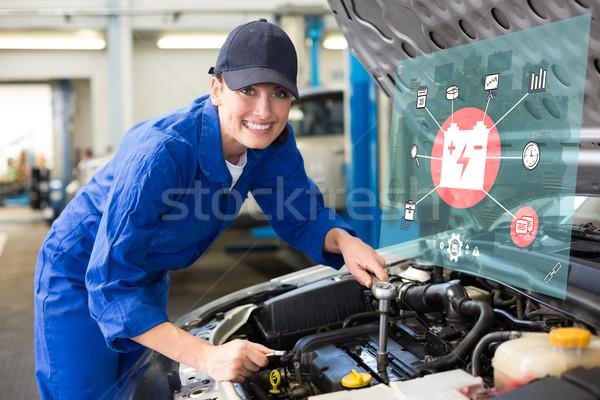 Stockfoto: Afbeelding · engineering · interface · glimlachend · monteur