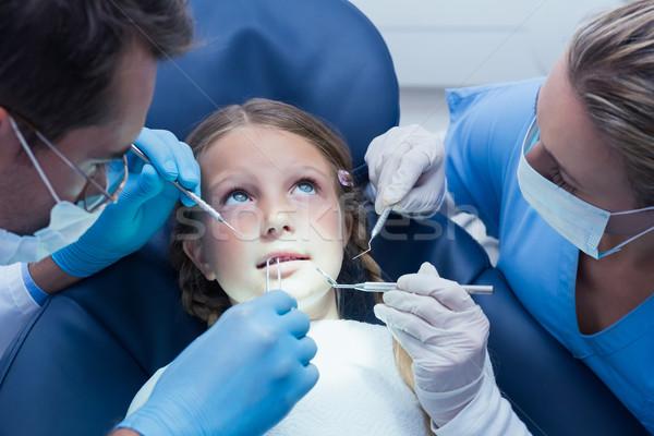 Foto stock: Dentista · ayudante · examinar · ninas · dientes · dentistas