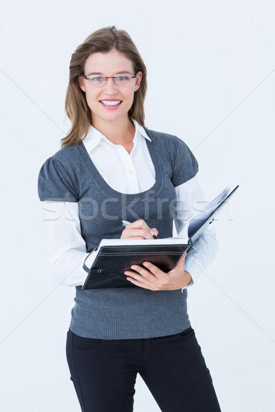 Gelukkig vrouw schrijven dagboek witte vrouwelijke Stockfoto © wavebreak_media