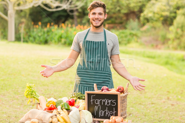 Handsome farmer standing at his stall Stock photo © wavebreak_media