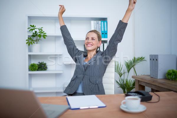довольно блондинка деловая женщина победу служба Сток-фото © wavebreak_media