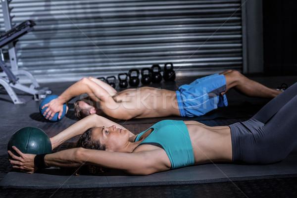 Izmos pár abdominális nő egészség klub Stock fotó © wavebreak_media