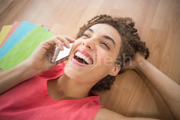 Jovem criador empresária risonho telefone negócio Foto stock © wavebreak_media