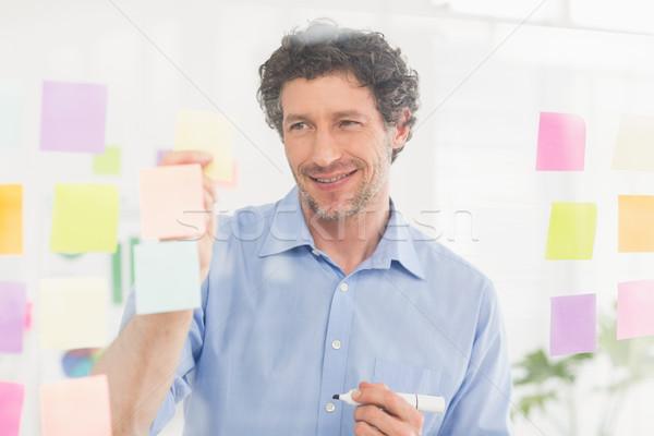 Intrigado empresário olhando postar parede escritório Foto stock © wavebreak_media