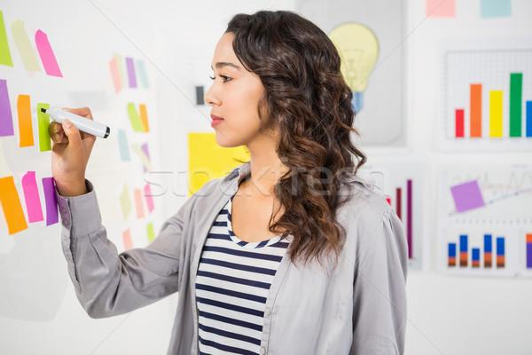 Jeunes sérieux femme d'affaires écrit sticky notes mur Photo stock © wavebreak_media