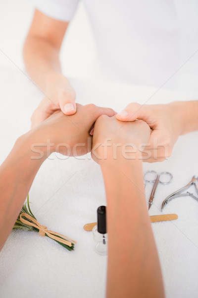 Beautician filing female clients nails at spa beauty salon Stock photo © wavebreak_media