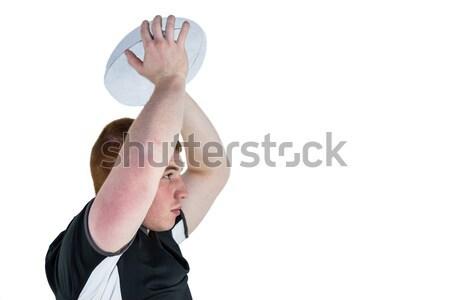 Rögbi játékos rögbilabda oldalnézet sport fekete Stock fotó © wavebreak_media