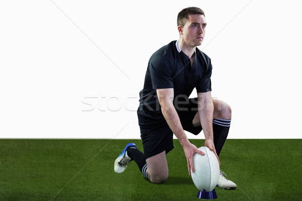 Rugby player ready to make a drop kick Stock photo © wavebreak_media