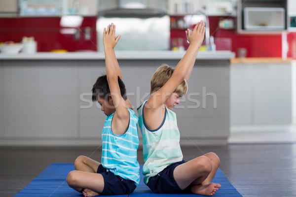 Testvérek előad jóga otthon gyermek fitnessz Stock fotó © wavebreak_media