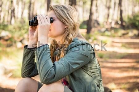 Lány ivóvíz erdő szomjas gyermek kommunikáció Stock fotó © wavebreak_media