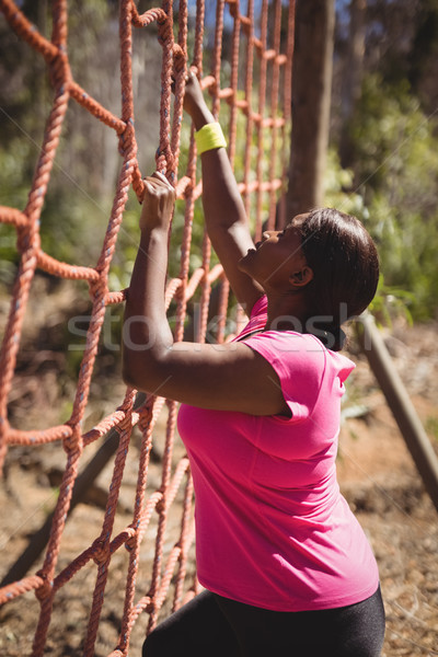 Determined woman climbing a net during obstacle course Stock photo © wavebreak_media