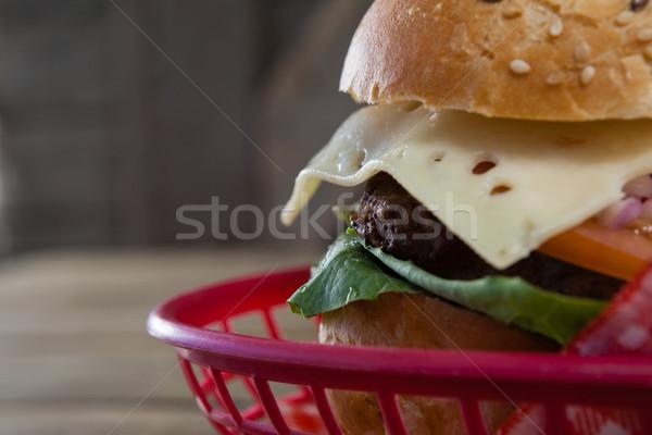 Hamburger sepet gıda ekmek sandviç Stok fotoğraf © wavebreak_media