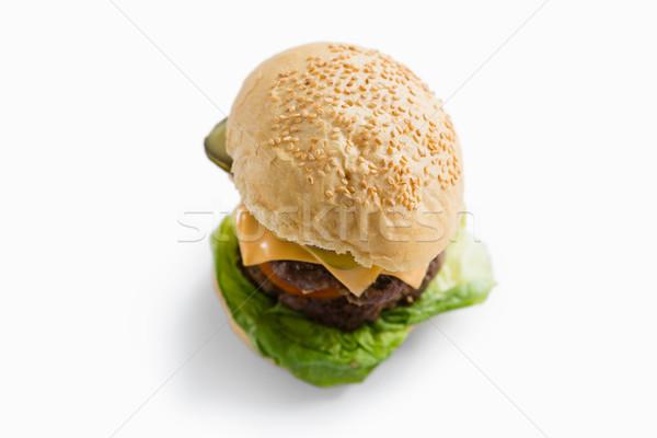 Hamburger sajt zöldségek fehér mosolyog zászlók Stock fotó © wavebreak_media
