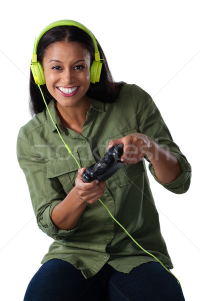 Femme jouer jeu vidéo blanche femme souriante heureux Photo stock © wavebreak_media