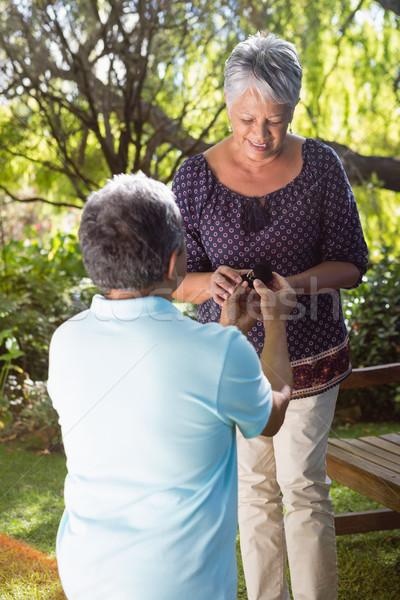 Senior man proposing woman by gifting ring Stock photo © wavebreak_media