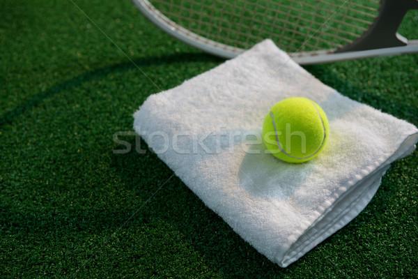 Teniszlabda szalvéta ütő játszik mező üzlet Stock fotó © wavebreak_media