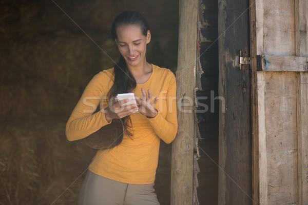женщины жокей Постоянный стабильный дверной проем Сток-фото © wavebreak_media