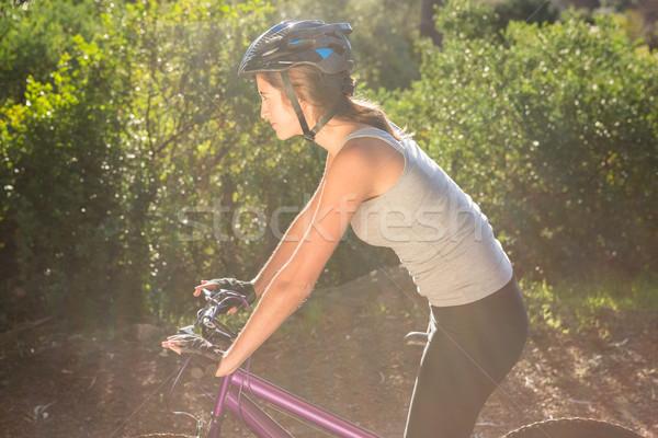 Esmer dağ bisikleti yol doğa kadın Stok fotoğraf © wavebreak_media