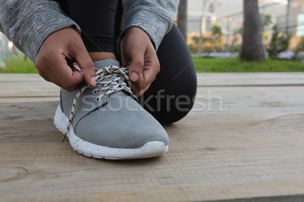 Alacsony részleg női atléta térdel baba Stock fotó © wavebreak_media