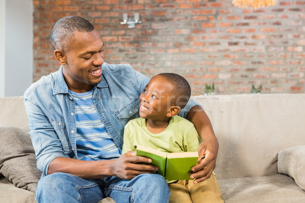 Father and son reading on the couch Stock photo © wavebreak_media