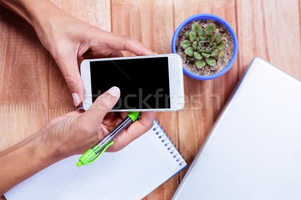 женский рук смартфон компьютер Сток-фото © wavebreak_media
