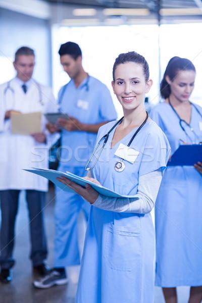 Photo stock: Homme · médecin · médicaux · rapport · souriant