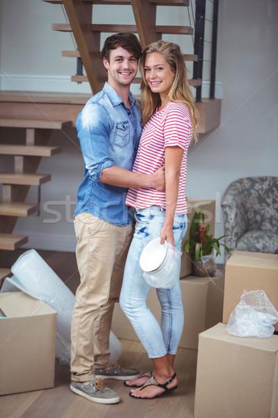 Portré mosolyog romantikus pár áll új ház Stock fotó © wavebreak_media