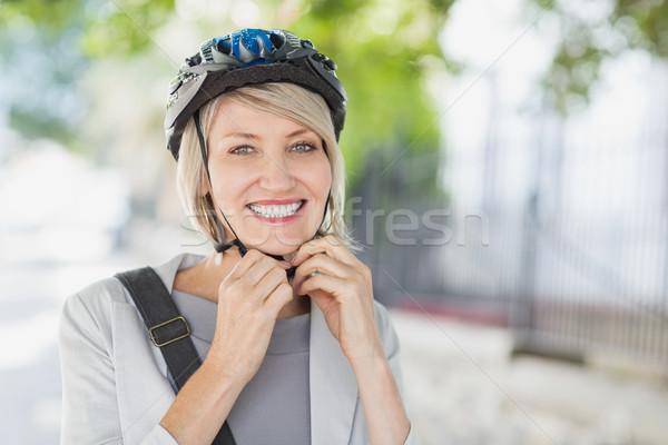 Portré boldog üzletasszony sisak város nő Stock fotó © wavebreak_media