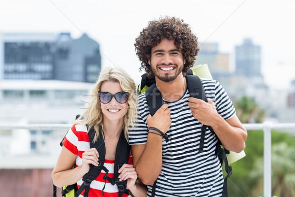 Portre güneş gözlüğü ayakta teras sevmek Stok fotoğraf © wavebreak_media