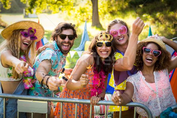 Grupy znajomych taniec festiwal muzyczny portret parku Zdjęcia stock © wavebreak_media