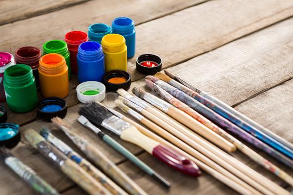 Boya fırçası ahşap yüzey ahşap eğitim Stok fotoğraf © wavebreak_media