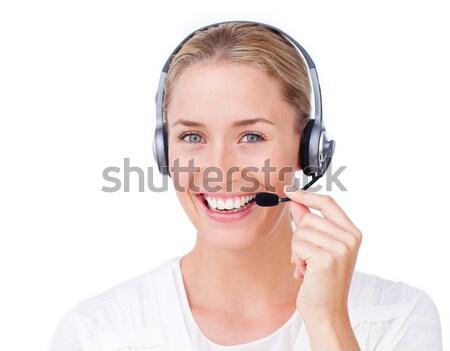 Sorridente atendimento ao cliente representante fone branco escritório Foto stock © wavebreak_media