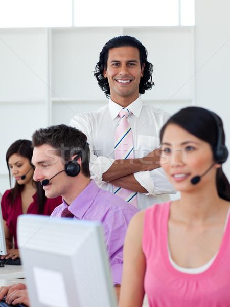 Internationale bedrijfsleven mensen die call center mensen hoofdtelefoon werken Stockfoto © wavebreak_media