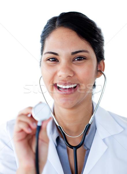 Portret pozytywny lekarza stetoskop biały Zdjęcia stock © wavebreak_media