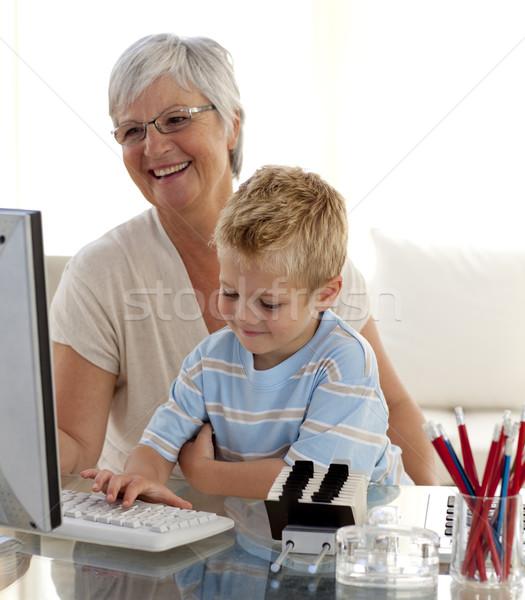 Stockfoto: Kleinzoon · grootmoeder · home · huis · liefde
