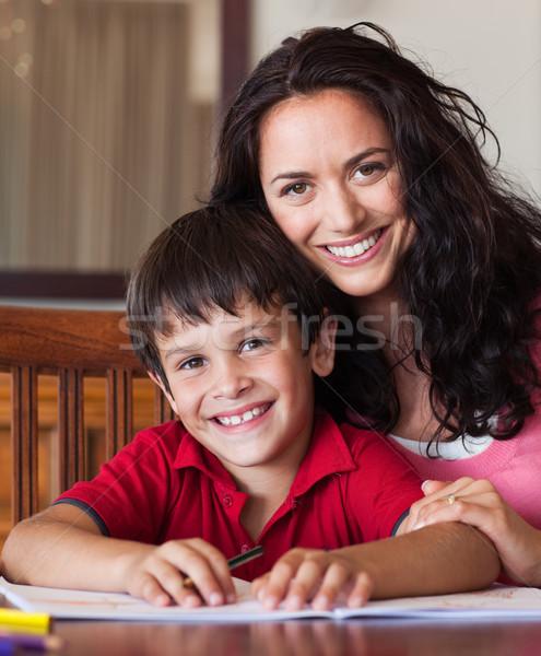Jasne matka pomoc syn praca domowa kobieta Zdjęcia stock © wavebreak_media