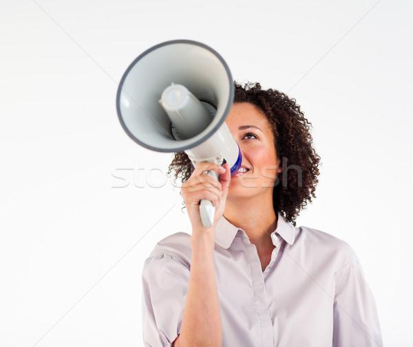 Femme d'affaires mégaphone visage Scream communication Photo stock © wavebreak_media