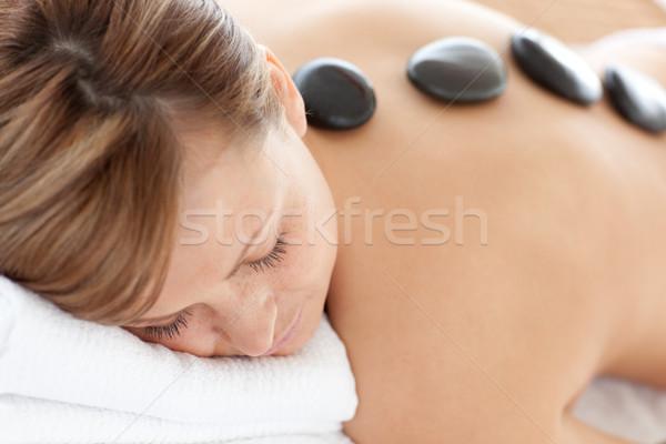 Primo piano luminoso donna pietra terapia bianco Foto d'archivio © wavebreak_media