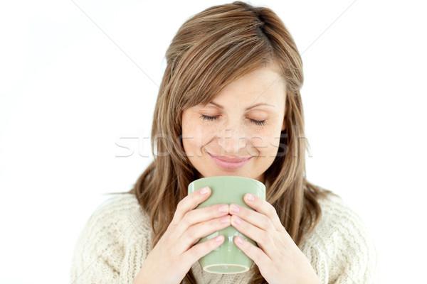 Encantado mulher copo café branco Foto stock © wavebreak_media