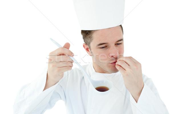 Entusiasta cocinar sopa blanco alimentos Foto stock © wavebreak_media