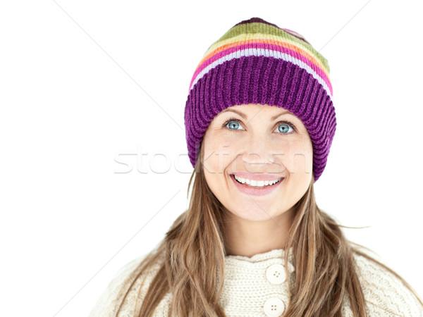 微笑的女人 帽 毛線衣 白 快樂 商業照片 © wavebreak_media