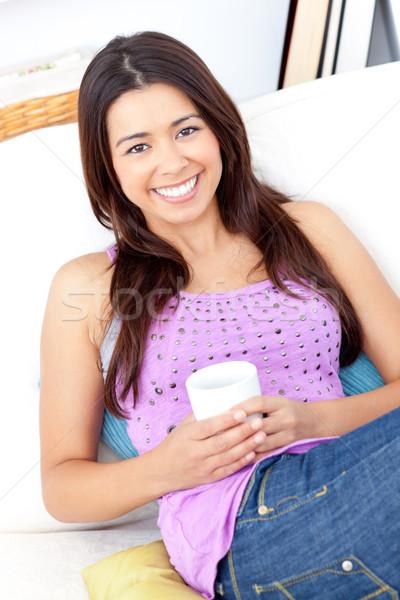 ярко женщину Кубок кофе улыбаясь Сток-фото © wavebreak_media