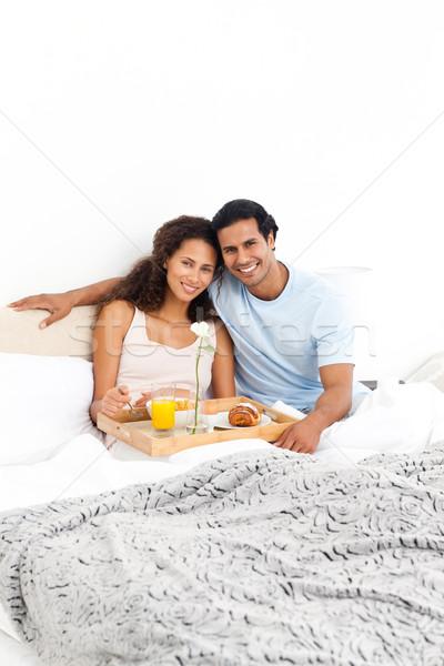 Portret cute paar ontbijt bed home Stockfoto © wavebreak_media